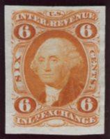 Scott R30P3 1862-71 6c Inland Exchange, orange plate proof on india, VF