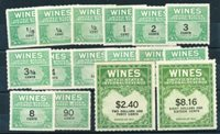 Scott RE 108-113,115,116-121,144,153,203 Group of VF Wine Stamps