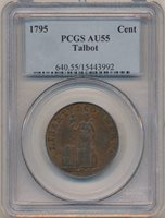 1795 Colonial Cent. Talbot, Allum and Lee. PCGS AU55
