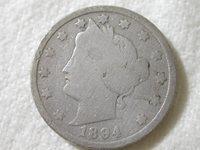 1894 U.S. 5 Cent Liberty Nickel Good