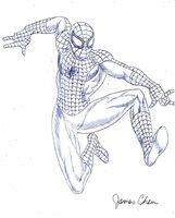 SPIDER-MAN ORIGINAL COMIC ART 2 BY COMIC BOOK ARTIST JAMES CHEN
