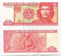 """Ernesto """" Che """" Guevara 3 Pesos Cuba 2004 - P 123 MONEY - UNC"""