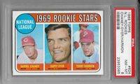 1969 TOPPS NL Rookie Stars D. Chaney D. Dyer T. Harmon Card #624 PSA Grade 8