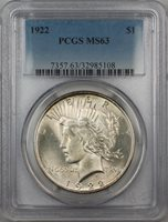 1922 Silver Peace Dollar $1 PCGS MS-63 5G