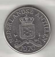 NETHERLANDS ANTILLIES, 1970, 25 CENT, NICKEL, KM#11, ALMOST UNCIRCULATED