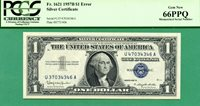 MISMATCHED SERIAL ERROR 1957B $1 SC - PCGS GEM 66 PPQ - MISMATCHED SERIAL ERROR