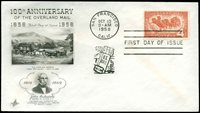 US FDC #1120 Artcraft Cachet San Francisco, CA Overland Mail Anniversary