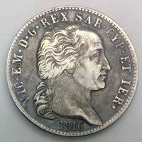 Italian States Sardinia 1816 5 Lire Silver Crown Victor Emmanuel I Key Date