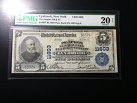National Bank Note Lynbrook New York PMGVF 20 Net Damage