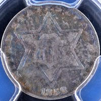 TONED 1858 3C Silver Three-Cent Piece - PCGS XF45 35987176