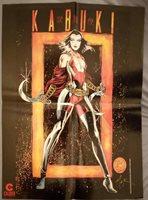"1 KABUKI poster signed by David Mack artist/creator 1995 23.5x17.5"" vintage"