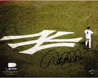 Derek Jeter On Field with Yankee Emblem Horizontal 8x10 Photo (MLB Auth)