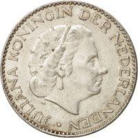 Netherlands, Juliana, Gulden, 1955, AU(55-58), Silver, KM:184