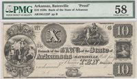 Batesville Bank of the State of Arkansas 18-- $10 Unl 321-2 10-G122 20-G20 Rawdon, Wright & Hatch engraved this Proof on India on card issue graded 58 by PMG and displaying uniform full margins and very good centering with punch cancels noted but divots not removed Gem AU+
