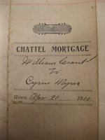 1910 Chattel Mortgage Grant Myers Middlebury Vermont Cattle Contract Cow History