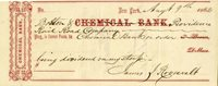 Chemical Bank Check Signed by James J. Roosevelt - Grandfather of Theodore Roose