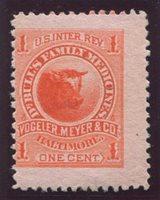 Vogeler, Meyer Co., Dr. Bull's Family Medicines. Baltimore, Maryland Scott RS252c 1877-78 1c vermilion three large margins, F