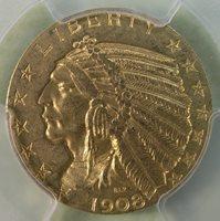 $5 1908-D Indian Head Gold Half Eagle PCGS MS62 Better Date! * AvenueCoin