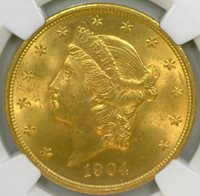 1904 $20 Gold Liberty Head NGC Graded MS 64+