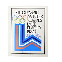 Jim Craig and Steve Janaszk Autographed Lake Placid Olympic Rings Poster DOD