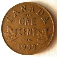 1933 CANADA CENT - High Quality Vintage Coin - FREE SHIP - HGBin #1