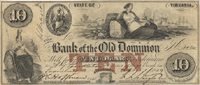 Alexandria Bank of Old Dominion 1859 $10 Unl BA30-15 15-G14b 30-G30a Over printed with a large red TEN at  center , this issue by Rawdon, Wright, Hatch & Edison has full irregular margins and good centering Ch VF