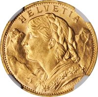 SWITZERLAND REPUBLIC 1925 20 FRANCS GOLD COIN, UNCIRCULATED CERTIFIED NGC MS66