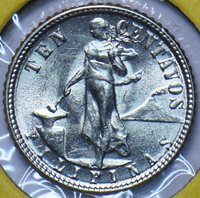 Philippines 1945 D 10 Centavos Eagle animal UNC 294816 combine shipping