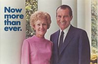 1972 PAT & RICHARD NIXON PICTURE CAMPAIGN POSTCARD - INDIANA TICKET ON BACK