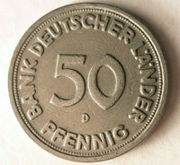 1949 D GERMANY 50 PFENNIG - Excellent Vintage Coin - BARGAIN BIN #133