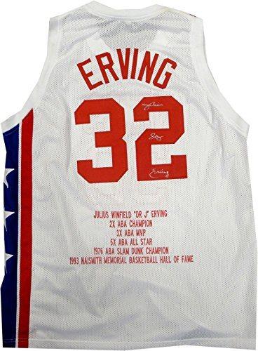 sports shoes 36952 aec7d Julius Erving Dr. J Hand Signed Autographed New Jersey Nets Stat Jersey +  COA