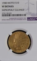NGC VF DETAILS 1908 WITH MOTTO INDIAN GOLD $10 EAGLE