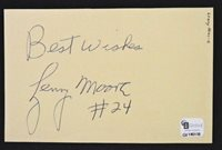 LENNY MOORE HOF HALFBACK BALTIMORE COLTS FOOTBALL HAND SIGNED INDEX CARD COA GAI