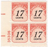 U.S. #J104 17c Denomination in Black Plate Block of 4