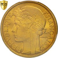France, Morlon, 2 Francs, 1938, Paris, PCGS, MS64, Aluminum-Bronze, KM:886