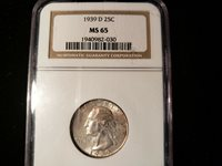 1939 D WASHINGTON QUARTER NGC MS 65 1940982-030