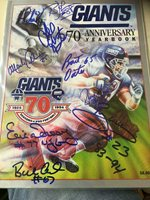 NY GIANTS 70TH ANNIVERSARY YEARBOOK AUTO BY 9 ARD,JOHNSON,OATES ETC NICE LOOK