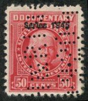 Scott R421 1945 50c carmine (William J. Duane) perfin, F-VF