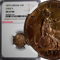 """Great Britain Victoria Bronze 1879 Farthing NGC MS63 RB Large """"9"""" RED KM# 753"""