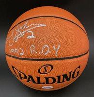 Larry Johnson SIGNED I/O Basketball 1992 ROY Hornets Knicks PSA/DNA AUTOGRAPHED