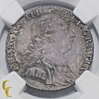 1787 Great Britain Shilling Hearts in MS 63 By NGC 1S Silver Coin KM-607.2