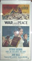 WAR AND PEACE MOVIE POSTER AUDREY HEPBURN Linenbacked Three Sheet 41x81 Inch