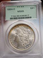 1884-O MORGAN SILVER DOLLAR PCGS MS65 Green Holder.. # 0917