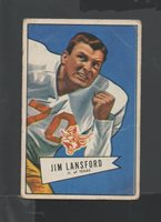 1952 Bowman Small Football Card #144 Jim Lansford-Dallas Texans.