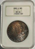 1880-S Morgan silver Dollar NGC MS64 (#13043) interesting toning. Old fat NGC.