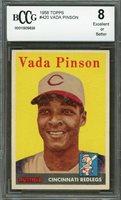 1958 topps #420 VADA PINSON cincinnati reds rookie card BGS BCCG 8