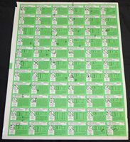 1978 Topps Football Uncut Test/Proof Sheet Proofreader Notes Backs Only -Green