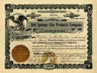 Hot Springs Clay Products Company - Stock Certificate