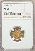 1842-O US Gold $2.50 Liberty Head Quarter Eagle - NGC AU50