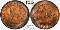 1967 GREAT BRITAIN HALF PENNY PCGS MS64 RB BU COLOR TONED ONLY 2 GRADED HIGHER!